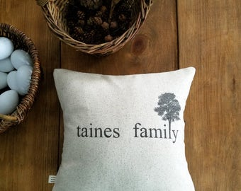 free shipping / family tree pillow cover / tree of life / gray / personalized pillow / family pillow / gift idea / house warming / custom /