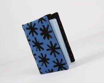 Fabric card holder - Plink plink in black / Cotton and Steel / Japanese fabric / Bluebird / Black stars / Navy blue