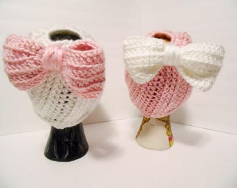 Messy Bun Hat with Bow, Soft Essentials Pink & White