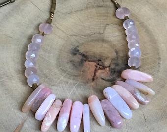 Pink opal and rose quartz necklace