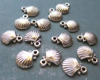 Shell charms silver tone