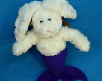White and Purple Mer-Bunny from recycled plush