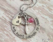 JBK Custom hand stamped My Heart Belongs to Jesus necklace