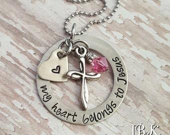JBK Custom hand stamped My Heart Belongs to Jesus necklace