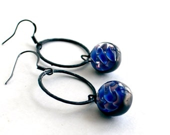 OOAK Stained Glass Jewelry Earrings – Blue Glass Lampwork Marbles - Dark Patina