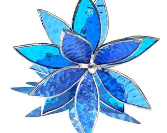 Aqua and Light Blue Stained Glass 3D flower - Suncatcher -  In Full Bloom Textured