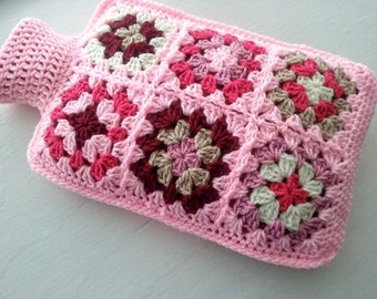 Hot Water Bottle Cover  Cosy in Shades of Pink