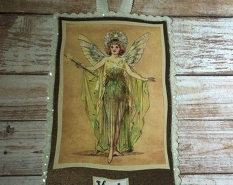 Fairy / Magic Paper Plauque / Blank On Back For A Greeting, Glittered Vintage Image With Ribbon Hanger