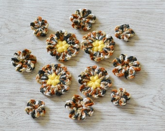 12 Multi Crochet Flowers Applique Motif Embellishments