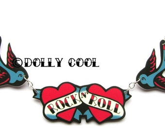Bluebirds necklace Tattoo style Rock n Roll with tattoo inspired by Dolly Cool