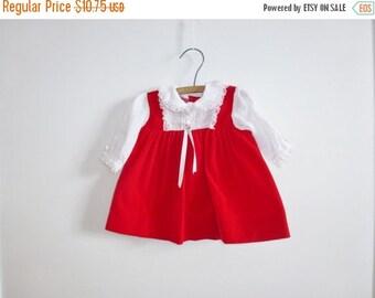 SALE // Vintage Red Velveteen Baby Dress