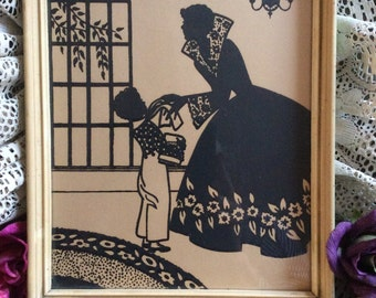 Vintage black ink turn of century picture, silhouette style lady and young boy, elegant woman picture wall hanging art, silhouette design