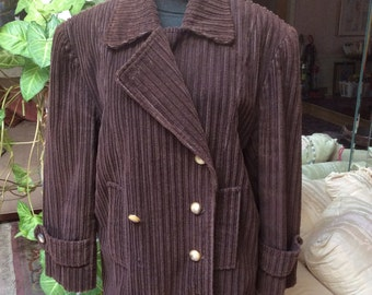 Vintage brown wide corduroy woman's jacket, double breasted brown wide whale pea style jacket, woman's sz M brown cotton corduroy jacket