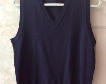 Vintage navy blue merino wool V neck sweater vest, sz Small preppy navy blue sweater vest, unisex navy blue V neck vest, Rodolfo vest