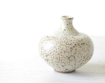 Rustic Speckled Cream Colored Bud Vase