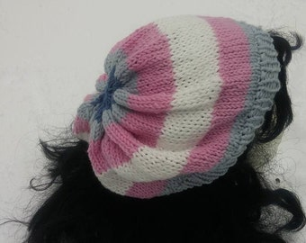 pale blue, pink, white wool hat