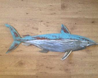 Shark Metal Fish handmade Wall sculpture 36in  Beach Coastal Tropical