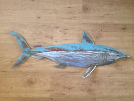 Shark Metal Fish handmade Wall sculpture 36in  Beach Coastal Tropical
