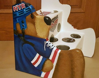 Custom Hockey Step stool with Teddy Bear sides cut out, wooden, personalized kids furniture, kids room decor