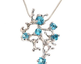 HOLIDAYS SALE - CORAL Reef Blue Topaz Pendant Necklace, Stone 14k White Gold Pendant, Blue Topaz Necklace, Unique Gold Pendant Necklace Gold
