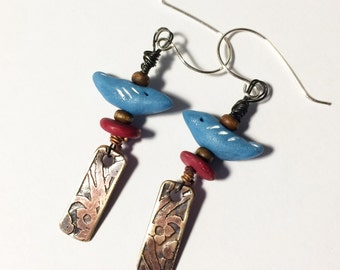 Bluebird Earrings with Etched Brass Dangles, Polymer Clay Bird Earrings
