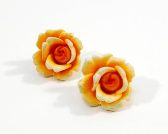 Vintage Rose Earrings, Orange Rose Flower Clip Earrings, Germany Plastic Rose Clip On Earrings, Spring Summer Jewelry