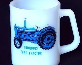 Vintage Iroquois Ford Tractor Federal White Glass Advertising Mug
