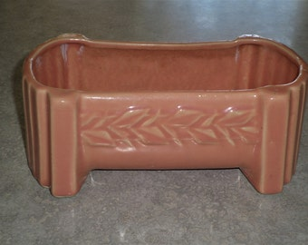 McCoy Pottery sand butterfly trough Planter window bow fernery rose peach glaze