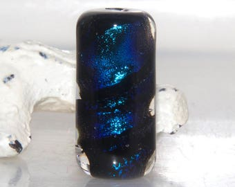 Black Aqua Dichro Handmade Lampwork Glass Barrel Bead