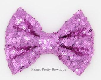 "5"" Lavender Sequin Bow-Large Hair Bow-Sparkle Bow"