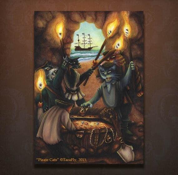 Pirate Cats 5x7 Art Print