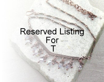 Reserved Listing For T, Antique Copper Light Blue Wire Wrapped Necklace, Contemporary, Wire Jewelry, Gift For Her, Canada