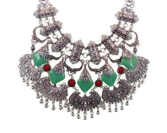 Boho Necklace, Big Statement, Vintage Necklace, Bohemian, Tribal Ethnic, Gypsy, Belly Dance, Silver Bib, Red Green Turquoise, Middle Eastern