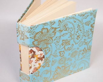 Blank Wedding Guestbook, Journal, Notebook  or Sketchbook with a Classic and Sweet Gold Floral Patterned Fabric Cover