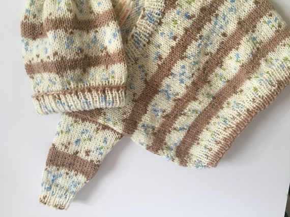 READY TO SHIP    Hand Knit Newborn Baby Cardigan & Hat Set/Baby Boys/Blue/Brown/Ivory/Acrylic             Size Newborn to 6 months