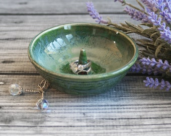 Green Glazed Ring Holder Handmade Ceramic Jewelry Dish Made in USA Ready to Ship Green Pottery
