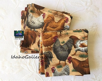 Fabric Napkins Set of 12 Free Range Country Chicken Napkins Sustainable Reusable Go Green