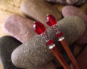 "Dark Red Hairsticks with Rare Vintage Swarovski Crystal Teardrops and Sterling Silver Accents ""Crimson Romance"""