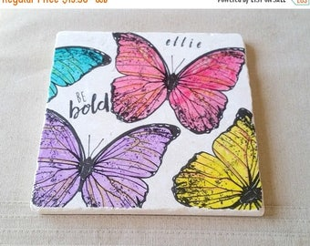ON SALE Butterfly Trivet -  Personalized Mother's Day Gift Colorful Spring Kitchen Home Decor  - Tile Pot Holder - Be Bold Butterfly Design