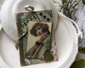 Handmade Christmas Card - Vintage Lady Christmas - Victorian Lady Christmas - Old-fashioned Christmas Card