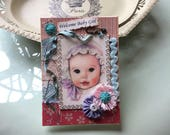 Vintage-style Baby Girl Card - Handmade Baby Girl Card - Welcome Baby Girl - New Baby Girl