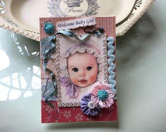 Vintage-style Baby Girl Card - Handmade Baby Girl Card - Welcome Baby Girl - New Baby Girl