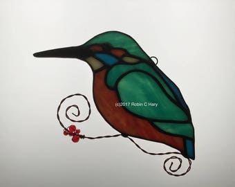Common Kingfisher Suncatcher in Stained Glass
