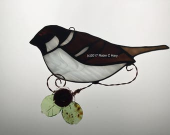 House Sparrow Suncatcher in Stained Glass