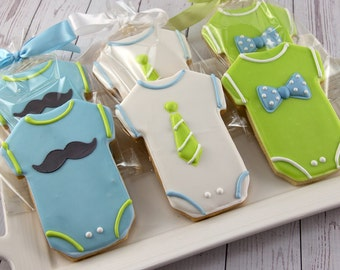 Mustache Cookies, Baby Cookies, Bow tie Cookies, Neck Tie Cookies, Baby Shower Cookies - 48 Decorated Sugar Cookies