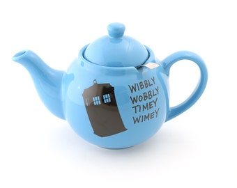 Doctor Who Teapot , Tardis , teapot and metal strainer , wibbly wobbley timey wimey , Dr Who , Whovian , tea drinker , large teapot