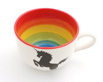 Rainbow Unicorn Mug , SOUP mug , large mug , cappucino mug , unicorns , inspirational mug , 20 oz mug