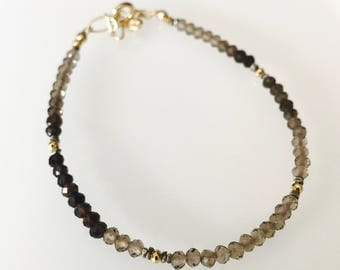 Dainty Ombre Shaded Smoky Quartz bracelet, gold pyrite, oxide sterling silver spacer, and gold filled findings
