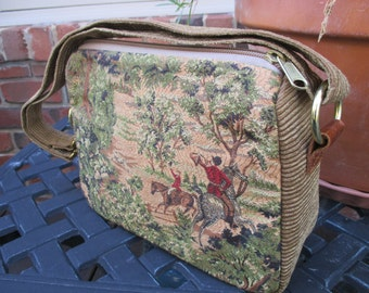 Silk Tapestry Hunting Scene in Gold Colors Purse, Clutch or Handbag