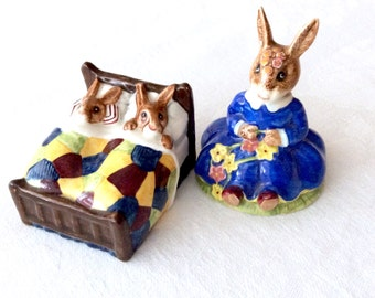 2 Bunnykins Royal Doulton Figurines Sleepytime Spring Time